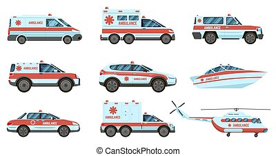 Ambulance emergency vehicles. Official city ambulance cars, helicopter and boat. City emergency service cars vector illustration set