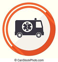 Ambulance flat design vector web icon. Round orange internet button isolated on white background.
