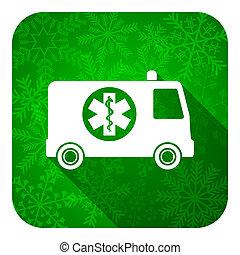 ambulance flat icon, christmas button