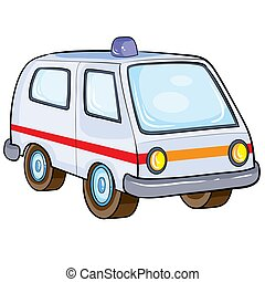 ambulance for transporting patients, retro style, cartoon illustration, isolated object on a white background, vector illustration,