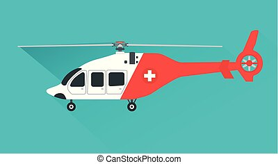 Ambulance helicopter. Red medical evacuation helicopter. Vector illustration