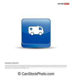 Ambulance Icon - 3d Blue Button