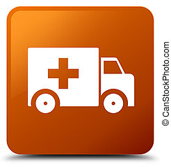Ambulance icon brown square button
