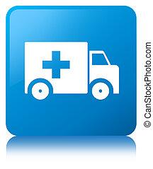 Ambulance icon cyan blue square button