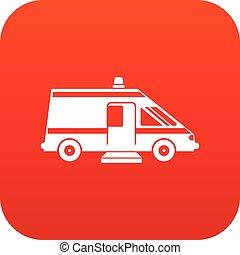 Ambulance icon digital red