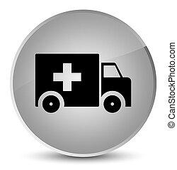 Ambulance icon elegant white round button