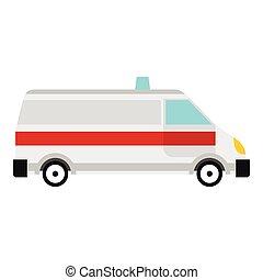 Ambulance icon, flat style
