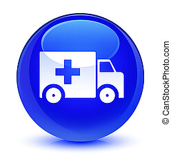 Ambulance icon glassy blue round button
