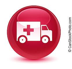 Ambulance icon glassy pink round button