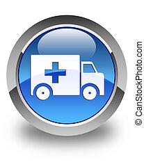 Ambulance icon glossy blue round button
