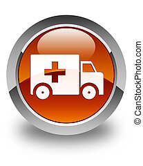 Ambulance icon glossy brown round button