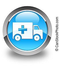 Ambulance icon glossy cyan blue round button