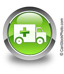 Ambulance icon glossy green round button