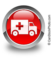 Ambulance icon glossy red round button