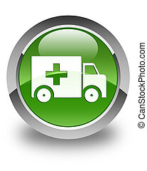 Ambulance icon glossy soft green round button