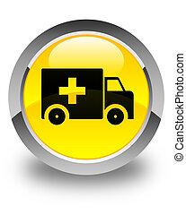 Ambulance icon glossy yellow round button
