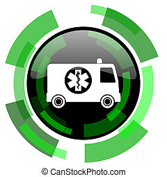 ambulance icon, green modern design isolated button, web and mobile app design illustration