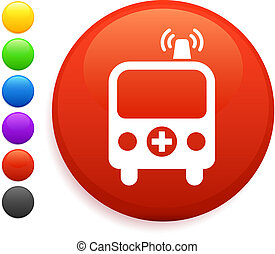 ambulance icon on round internet button
