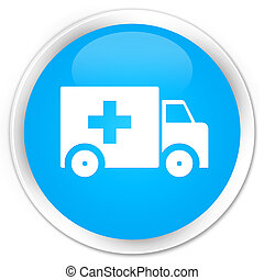Ambulance icon premium cyan blue round button