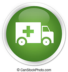 Ambulance icon premium soft green round button
