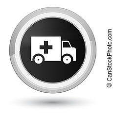 Ambulance icon prime black round button