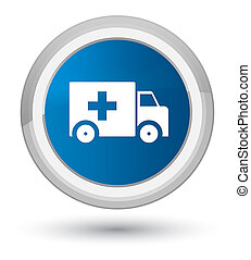 Ambulance icon prime blue round button