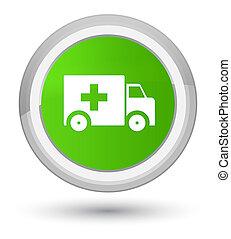 Ambulance icon prime soft green round button