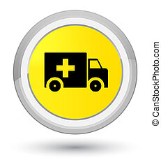Ambulance icon prime yellow round button