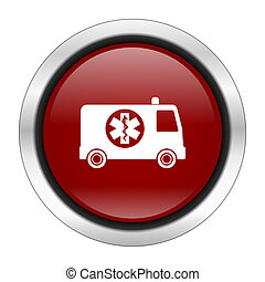 ambulance icon, red round button isolated on white background, web design illustration