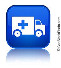 Ambulance icon special blue square button