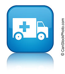 Ambulance icon special cyan blue square button