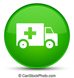 Ambulance icon special green round button