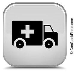 Ambulance icon special white square button