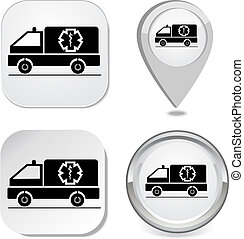 Ambulance icon sticker button point