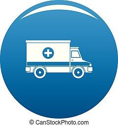 Ambulance icon vector blue