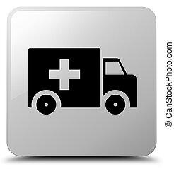 Ambulance icon white square button