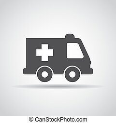 Ambulance icon with shadow on a gray background. Vector illustration