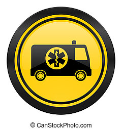 ambulance icon, yellow logo,