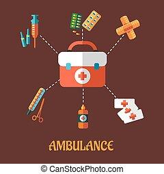 Ambulance icons flat concept