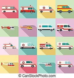 Ambulance icons set, flat style