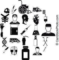 Ambulance icons set, simple style - Ambulance icons set. ...