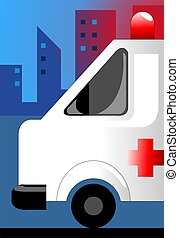 ambulance - Illustration of ambulance in building background...