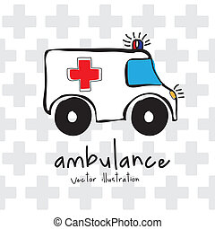 ambulance design over cross background vector illustration