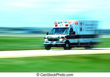 Ambulance in Motion. Emergency Call. American Ambulance on...