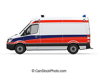 Ambulance Isolated on White Background. 3D Render