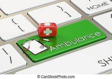 Ambulance key on keyboard, 3D rendering