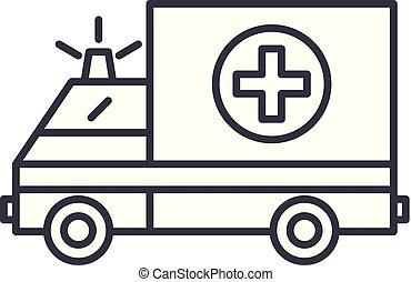 Ambulance line icon concept. Ambulance vector linear illustration, symbol, sign