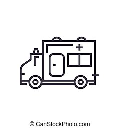 ambulance linear icon, sign, symbol, vector on isolated background