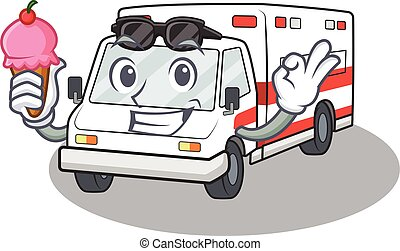 Ambulance mascot cartoon design with ice cream