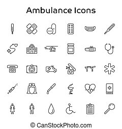 Ambulance, Medical and Healthcare outline vector icons - isolated on white background